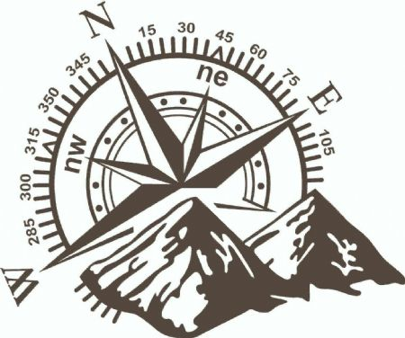 (No.729) MOTORHOME, CAMPER VAN ,CARAVAN DECAL, GRAPHIC, COMPASS & MOUNTAINS